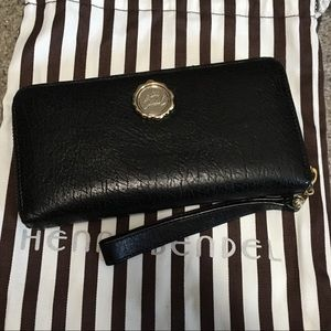 Black Leather Henri Bendel Wallet/Wristlet